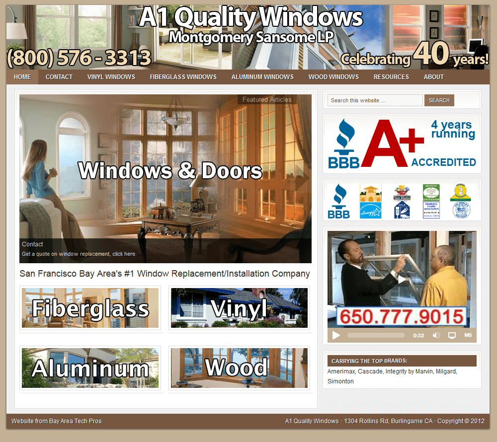 Bay area website design legitwebs for Quality windows